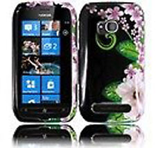 For Nokia Lumia 710 HARD Protector Case Snap on Phone Cover Black Purple Flower