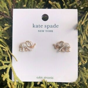 Kate Spade Elephant Pave Earrings Things We Love Rose Gold Plated Studs New