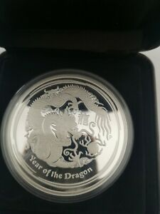 5oz silver proof coin.  2012 Australian Year of the Dragon. Perth Mint