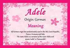 Adele Personalised Name Meaning Certificate