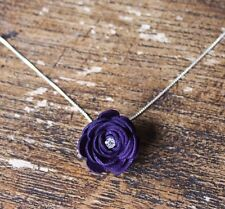 Purple Leather Rose Pendant~necklace/jewellery/flower/goth/rockabilly/steampunk