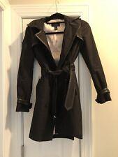 Victorias Secret Black Trench Coat With Faux Leather Trim Size 0