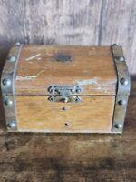 Vintage Wooden Trinket Box Chest Design Metal Stud Design