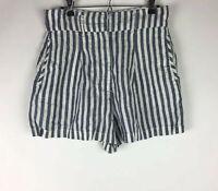 Cynthia Rowley Women's Size 8 Stripe High Rise Pleated 100% Linen  Shorts