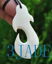 Hand Carved Bone Fish Hook Amulet Pendant NZ Maori Style Carving Art