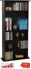 Multimedia Storage Cabinet Tower DVD CD Rack Shelf Organizer Media Stand Black