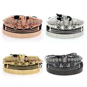 Imperial Crown King Bracelet Luxury Charm Roman Numeral  CZ Zircon Bracelet Kit