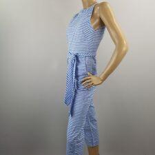 26fcdc7784c Striped Jumpsuit Belted Romper Linen Blend Juniors Size Medium Blue White