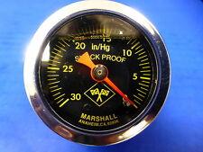 """Marshall Gauge 0-30 Hg Vacuum 1.5"""" Midnight Chrome Liquid Filled Shock Proof 1/8"""