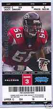 Atlanta Falcons Carolina Panthers Full Unused Ticket 9/23/07 Keith Brooking