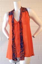 M By Marcus 100% Silk Tangerine and Blue silk blouse with a Tie Sz L