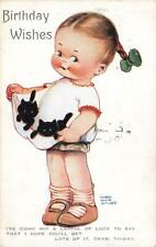 1925 LUCIE ATTWELL  Good Luck Black Cats Birthday   Postcard No 887