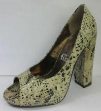 Spot On Block Heel Peep Toe Heels Textile