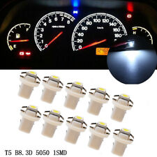 10x T5 B8.3D 5050 1SMD Car Dashboard Dash Gauge Instrument Light Bulbs White LED