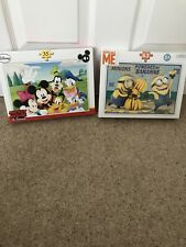 Disney Mickey Mouse And Despicable Me Minions Puzzles - Both Sealed