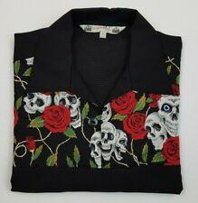 MENS ALL SIZES SKULL AND ROSE Bowling Shirt Rockabilly Shirt Rock n Roll Retro