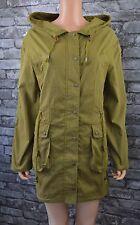 Para Mujer Largo Verde Caqui Abrigo Chaqueta Parka con Capucha Algodón Impermeable Uk Size 16