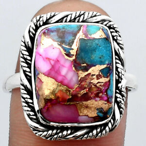 Natural Kingman Pink Dahlia Turquoise 925 Sterling Silver Ring s.10 Jewelry E528