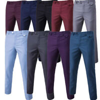 Men Formal Business Chinos Pants Slim Fit Straight-Leg Casual Dress Long Trouser