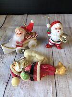 Vintage Santa Tree Ornaments Lot Of Three