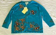 QVC Quacker Factory Blue Jungle Monkeys Cardigan Sweater Size 1X NWT