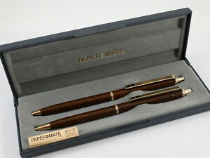 Papermate 518 Gold Lacquered Ballpoint Pen & 0.9 Pencil Set In Box Made In Usa *