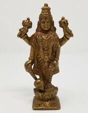 "Brass Antique Finish Lord Lord Vishnu 3.75""H 2""W Statue"
