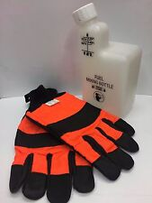 CHAINSAW SAFETY GLOVES SIZE LARGE IDEAL FOR STIHL, HUSQVARNA & FREE MIXER BOTTLE