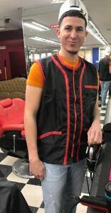 Professional Barber Vest Jacket Black With Red Strip Color,Ultra Lightweight