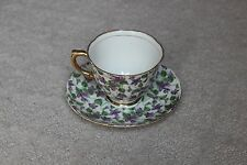 Vintage Napco Hand Painted Cup Saucer Floral Viola Purple Green Gold Rim Handle