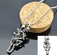Skeleton Hugging Necklace Pendant Chain Love Couple Skull Gothic