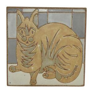 Kurt Wild Studio Pottery 2004 Large Feline Cat Art Deco Tile