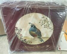 Pottery Barn set 4 Botanical Harvest BIRD dinner plates holiday Thanksgiving