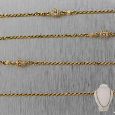 """1890's Antique Victorian 14k Yellow Gold Seed Pearl Slide 48.5"""" Necklace"""
