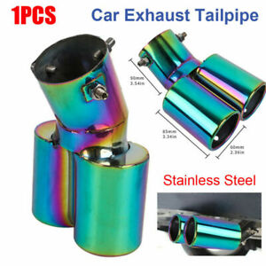 1× Full Color Car Stainless Steel Rear Dual Exhaust Pipe Tail Muffler Tip Round