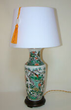Lampe vase porcelaine Famille verte Chine Qing China Lamp