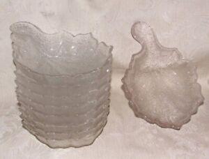 Antique 1869-73 PORTLAND GLASS 9 Leaf Berry Bowls Tree of Life Sauce Ice Cream