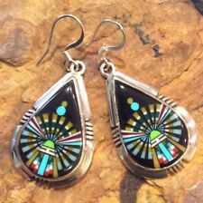 Native American Sterling Silver Micro Inlay Yei Navajo Earrings Hallmarked