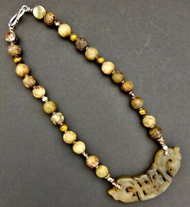 Vintage Chinese Hand Carved Jade Or Serpentine Necklace With Beads And Pendant
