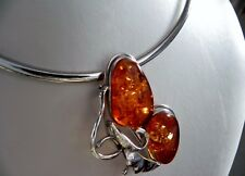 Majestic! 40g sterling silver 925 whisky amber brooch/pin choker collar necklace