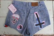 Denim Upcycled Bleached Jean Shorts Indie Grunge 90s Vintage Studded UK 10