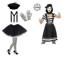 NEW MIME ARTIST COSTUME Ladies Fancy Dress Suspenders French Circus Halloween UK