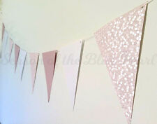 baby pink bubbles & white paper flag bunting party shower wedding decoration