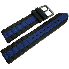 20mm Hadley-Roma MS3344 Black Blue Stripe Silicone Rubber Dive Watch Band Strap