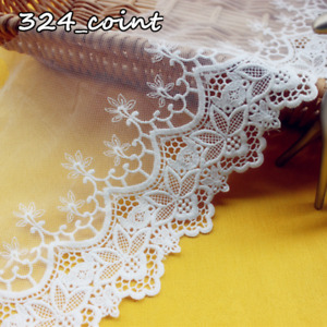 """Cotton Floral Embroidery Tulle Lace Edge Trimming 5.9"""" Wide Fabric Sewing HB321"""