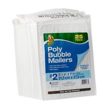 Duck Brand 2 Poly Bubble Mailer White 25 Pk 85 X 11