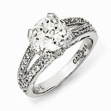 Cheryl M Sterling Silver Checker-cut Cubic Zirconia Ring Size 6 #847