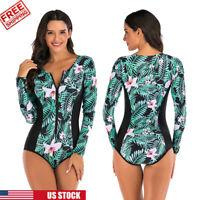 Women Rash guard One Piece Long Sleeve UV Protection Surfing Swimsuit Swimwear