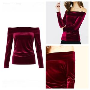 Ladies Red Top Size 16 MONSOON Velvet Long Sleeve Party Cruise Off Shoulder 🌹