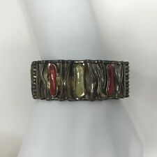 VINTAGE SILVER 950 CORAL MOTHER OF PEARL BRACELET VERY COOL DETAIL HALLMARKED